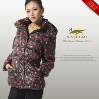 Free Shipping 2013 women's small plus size down long sleeve coat  Winter Floral Grey duck down jacket size 2XL 3XL High Quality