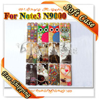 Soft OWL Cases for Galaxy Note3 Retro Design Cell Phone Skin Covers for Samsung Note III Free Shipping