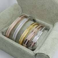 Luxury design fashion jewelry silver/gold/rose gold plated buckle bracelets bangle with 1 row fine stones for women/men