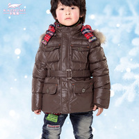 Free Shipping 2013 Children's clothing male child all-match medium-long fur collar down coat With detachable fur collar