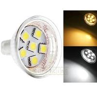 6pcs/lot GU4 MR11 1W 110-lumen 6 SMD 5050 LED Light Energy Saving Spotlight Bulbs Pure White Warm White 12 AC Free Shipping