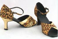 BBS-1A097 Women's shoes leopard International standard social dances  Latin Latin shoes gold high-heeled shoes dancing shoes