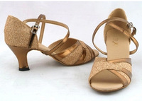 BBS-1A099 Ladies Latin Shoes Latin shoes light gold sequins adults with Latin dance shoes shoes