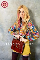 new 2013 hot vintage fish flowered - print shirts long sleeve shirt Autumn explosion models wild women blouses free shipping