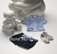 2 Pcs Fashion Hem Short Sleeve Cotton T Shirt + Denim Pants Kids Outerwear Children Clothing Set 6#13112408