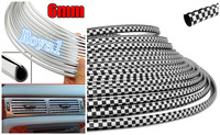 3Mx6MM  DIY U SHAPE CAR VEHICLE BLACK & WHITE SILVER CHROME STYLING DECORATION TRIM STRIP AIR VENT OUTLET GRILLE BUMPER HOOD