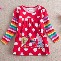 New arrival 2014 spring emboridery cartoon peppa pig long sleeve children cotton tees for girls kids t shirt 5pcs/lot wholesale