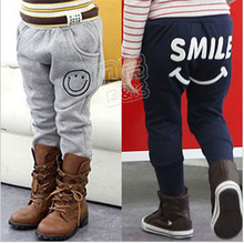 New 2014 autumn and winter children clothing boys pants smiley fleece trousers for girls breeched kids clothes(China (Mainland))