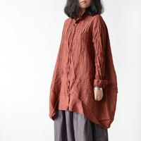 Irregular loose linen shirt pleated long-sleeve women's original design