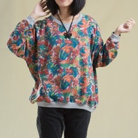 2013 autumn print casual plus size pullover pattern loose handsome sweatshirt female long-sleeve