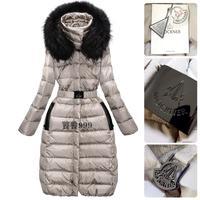 Promation New Arrival Hign-end Fashion Europe Raccoon Fur Long Slim Design Eco-friendly Down Coats Warm Parkas F15243