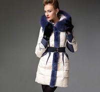 Hot!! 2013 High Quality  Europe And America Fashion Luxury Fox Fur Collar Elegant Long Down Coats Parkas Plus Size F15272