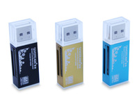 300pcs / lots , Aluminum alloy USB 2.0 Card reader Mcro SD/T-Flash,SD/MMC/SDHC MicroMS ,MS Duo/MS PRO Duo 4 in 1, Support 32 GB