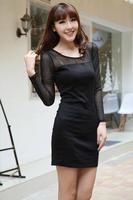 Autumn and winter sexy one-piece dress gauze patchwork plus size xxl male women's cd ts plus size clothing