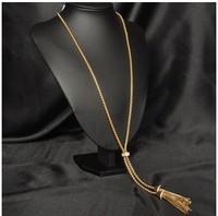 Vintage metal Double tassel necklace chain women 94cm long necklace gold filled wholesale (min order $15)