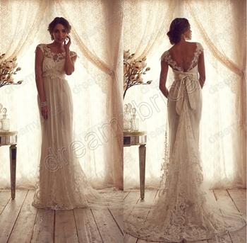 Sexy Cap sleeves vestido de noiva 2015 anna campbell wedding dress New Fashion bride dress Custom made size Free shipping