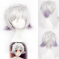 HOT!! Cosplay wig karneval nai blended-color silvery white gradient color stubbiness