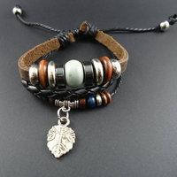 2014 new arrival trendy vintage Ceramic Beads Leaf Charm Men Genuine Wrap Cuff Leather Bracelets & Bangles Jewelry for women