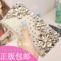 genuine leather diamond wallet women's wallet portable multi-purpose genuine leather purses bag