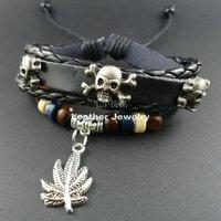 2014 new arrival vintage Men Genuine Wrap Leather Cuff Skull Skeleton Maple Leaves Charm Bracelets & Bangles Jewelry for women