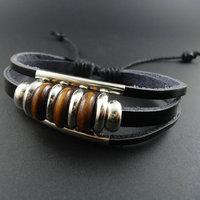 2014 new arrival trendy vintage Wood Beads Genuine Wrap Leather Men Bracelet &  Bangle Jewelry for women