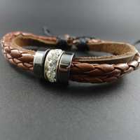 2014 new arrival trendy vintage Men Genuine Wrap Leather Cuff  Bracelets &  Bangles With Rhinestone Jewelry for women 2013