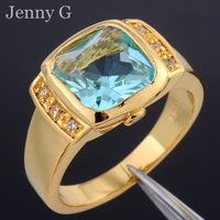 Jenny G Brand Jewelry Blue Square Aquamarine Crystal Stone 10KT Yellow Gold Filled Ring for Men Women Size 8-12