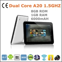 10.1  inch tablet pc Allwinner Dual Core A20 1.5GHZ 8GB 1GB wifi 6000mAH Doub CAM 10-point touch capacitive screen Android 4.20
