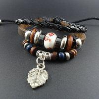 2014 new trendy fashion Korean Wood Beads Leaves Charm Men's Genuine Wrap Leather Cuff Bracelets & Bangles Jewelry for women
