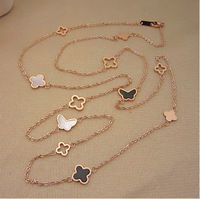 Black four leaf clover butterfly shell cutout design long necklace rose gold necklace female color gold titanium