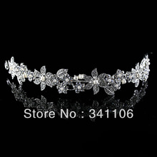 New Design Free Shipping Floral CZ Rhinestone Pearl Bridal Hair Accessories Tiara Hair Combs Wedding Jewelry Wedding Accessoies