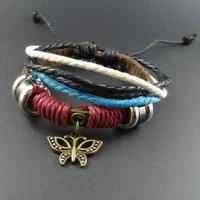 2014 new trendy Korean vintage  Wooden Beads Butterfly Charm Genuine Wrap Cuff Leather Bracelets & Bangles Jewelry for men women
