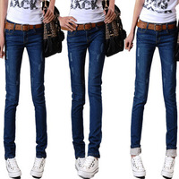 Free Shipping 2013 New autumn Mid Waist Women Jeans slim fit Pencil pants trousers Korean trend of  female Feet pants