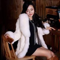 2014 Autumn And Winter Luxury Faux Fox Fur Rex Rabbit Hair Outerwear Fur Coat Overcoat