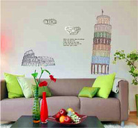 Free shipping Leaning Tower of Pisa living room sofa bedroom children's room decorative wall stickers
