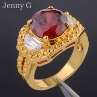 Jenny G Vintage Jewelry  Size 9,10,11 Round-cut  Red Garnet Crystal 18K Yellow Gold Filled Statement Ring Chistmas Gift