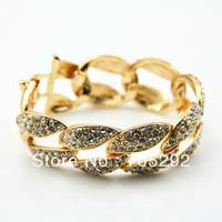 New Crystal Rhinestone Chunky Twisted Link Chain Bracelet Free Shipping
