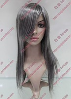 Free shipping! Cosplay wig silver grey soot blended-color long straight hair style wig