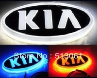 Free Shipping 4D KIA Rear Lights 13*6.5cm KIA LED Emblem, Blue/ Red/ White KIA Lighted Emblem
