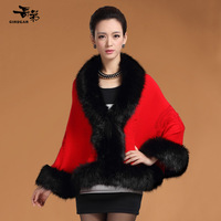 Autumn and winter cloak outerwear plus size sheep wool knitted women's cashmere cape scarf fox fur