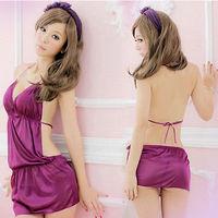 HD Sexy Lady Lingerie Lace Mini Dress Halter G-string Sleepwear Purples