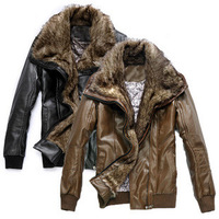 Hot-selling plus size PU short design slim male big suede collar motorcycle leather clothing fur one piece outerwear fur coat