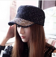 Korean lace Rhinestone outdoor flat cap baseball cap Retro Cap
