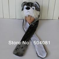 2014 Hot sale cute Plush Cartoon wolf / husky Hats Fluffy  Warm animal 3 in 1 Multi-function hat Scarf Gloves Cap Free Shipping