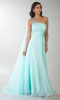 Free Shipping Sexy A-Line Floor Length One-Shoulder Beaded Chiffon Slit Front Open Back Long Evening Gown Prom Dress 2014 New