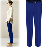 2014 Summer Pencil Pants British Style Casual Chiffon Trousers Pants Knitted Pants Plus Size With Belt 1090