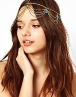 Gold Tone Crown T Stone Chain Hairband Head Band Headband Hair Piece Party free shipping