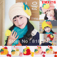 1PC New 2013 Strawberry Winter Baby Warmer Hat  Girl Knitted Caps Beanies with Rhinestone for 3-8 Yrs Kids Free Shipping