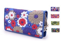 2013 Hot-selling fashion sheepskin women bag wallets flower lining wallet.cowhide clutch,women's genuine leather handbags