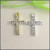50pcs Fashion Jewelry Crystal Rhinestones Cute Cross Pendant Charm Connector Beads Bracelet Jewelry findings